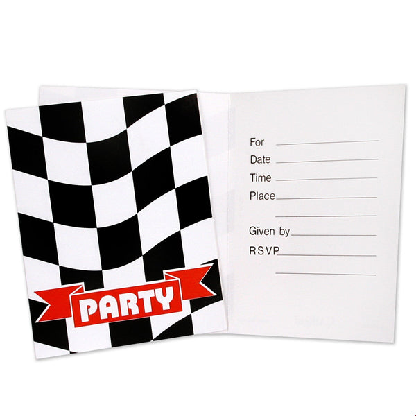 Checkered Invitations | Cars Party Supplies