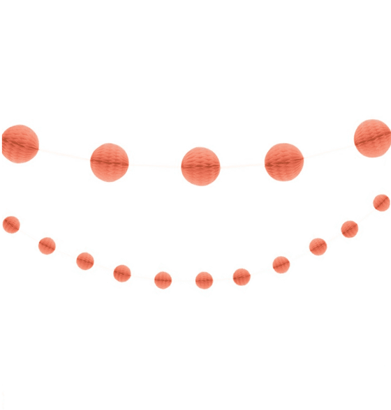 Coral Honeycomb Ball Garland | Coral Party Supplies
