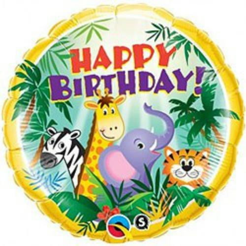 Qualatex | Happy Birthday Jungle Friends Foil Balloon | Jungle Animal Party Theme & Supplies