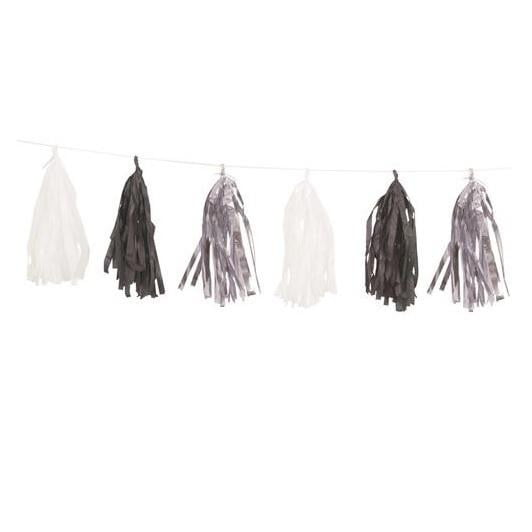 Unique | Tassel Garland - Silver, Black & White