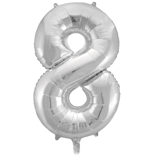 Meteor | Large Number 8 Foil Balloon - Silver