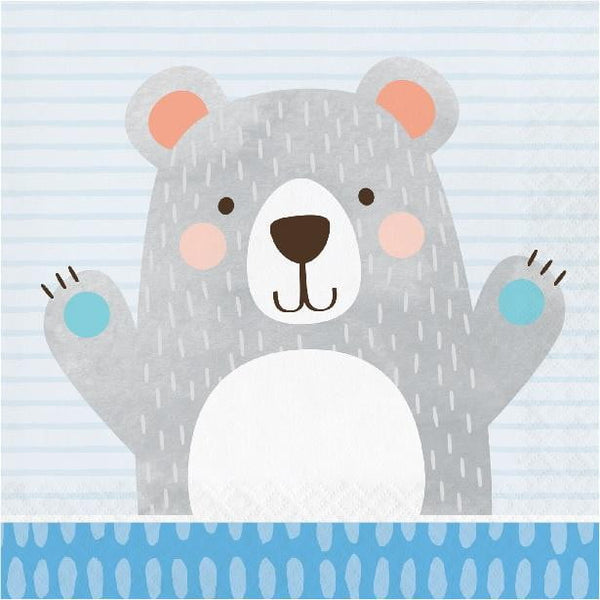 Amscan | Birthday Bear Napkins - Lunch | 1st Birthday Party Theme & Supplies