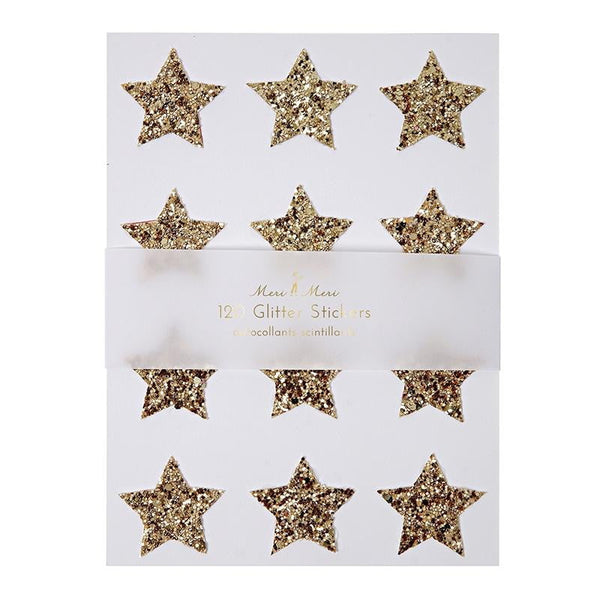 Meri Meri | Gold Glitter Star Stickers | Gold Party Supplies