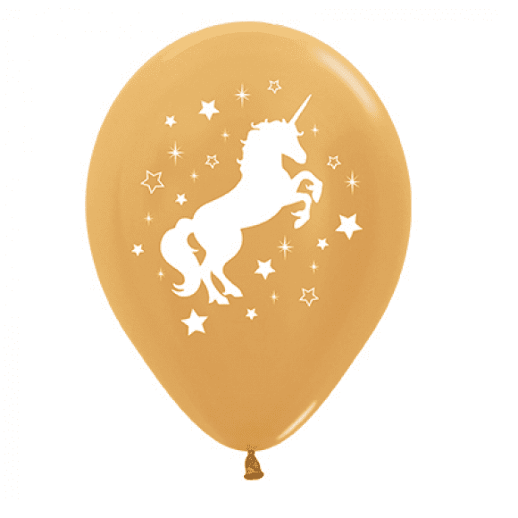 Sempertex | Gold Unicorn Balloons - Pack of 6 | Unicorn Party Theme & Supplies |