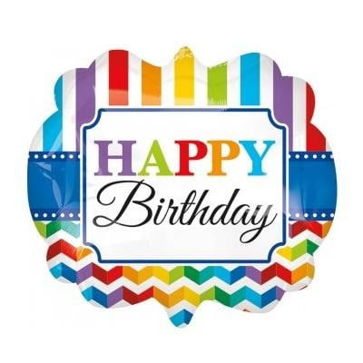 Happy Birthday Bright Chevron & Stripes Foil Balloon