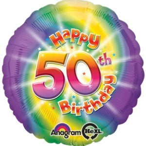 Tie Dyed 50th Birthday Foil Balloon Build A