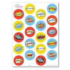 Edible Superhero Stickers | Superhero Party Theme and Supplies