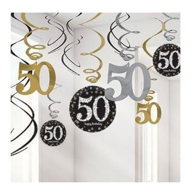 Amscan | Sparkling Black 50th Swirl Decorations | 50th Party Theme & Supplies