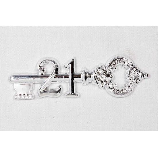 21st Key Cake Decoration - Silver