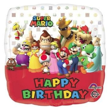 Super Mario Brothers Happy Birthday Foil Balloon | Mario Brothers Party Theme & Supplies