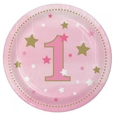 Creative Converting | One Little Star Pink Plates | 1st Birthday Party Theme & Supplies