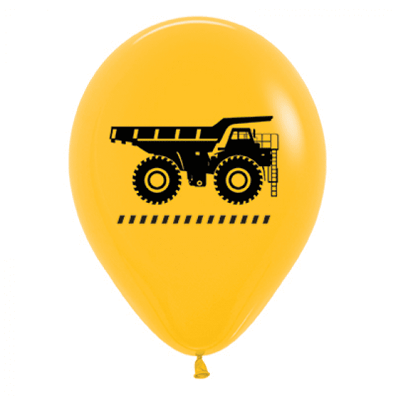 Sempertex | Yellow Construction Truck Balloons - Pack of 6 | Construction Party Theme & Supplies |