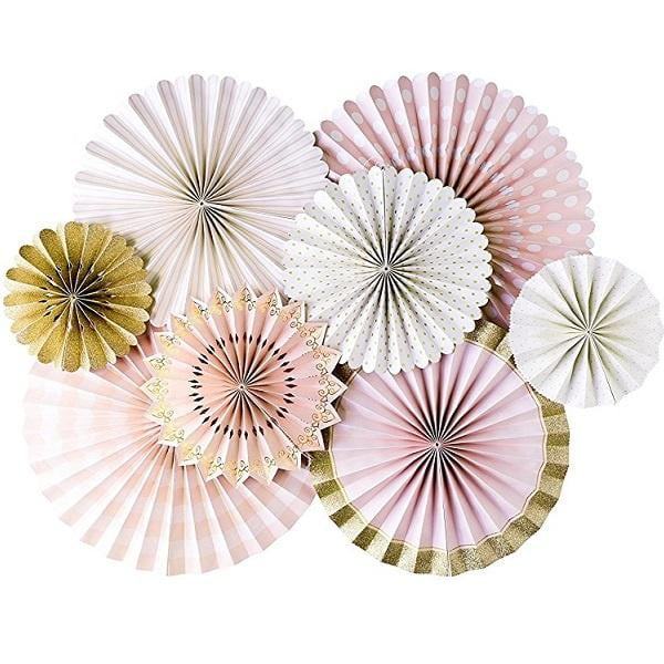 My Mind's Eye | Pink & Gold Party Fans Decorating Kit