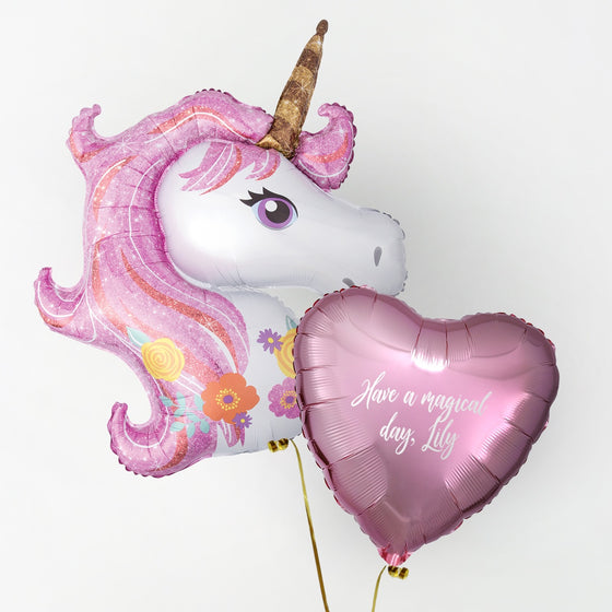 Unicorn Personalised Foil Duo by Pop Balloons