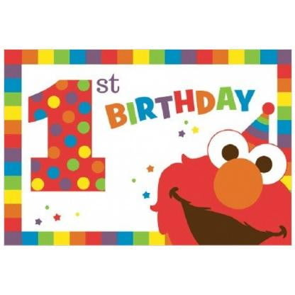 Amscan | Elmo Turns One Invitations | Sesame Street Party Theme & Supplies