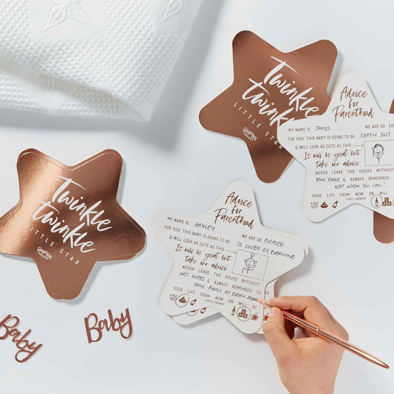 Ginger Ray | Twinkle Star Advice Cards | Rose Gold Baby Shower Supplies