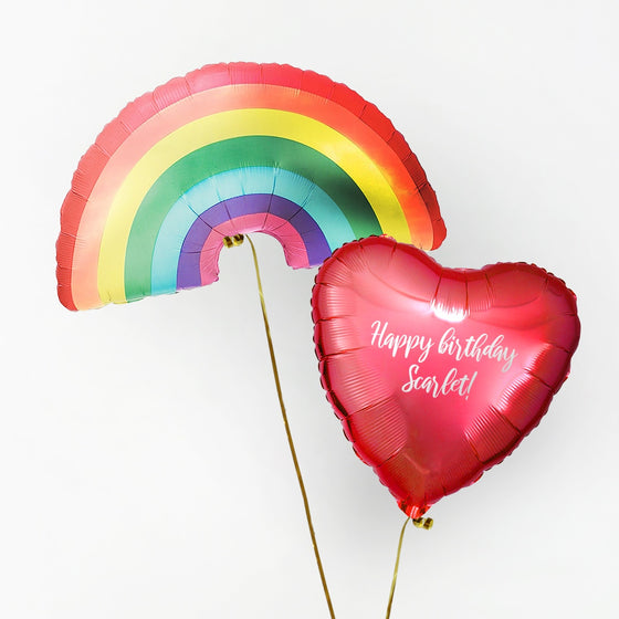 Rainbow Personalised Foil Duo by Pop Balloons