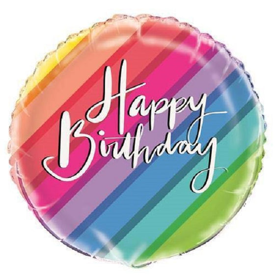 Rainbow Stripe Happy Birthday Foil Balloon | Rainbow Party Theme & Supplies | Unique