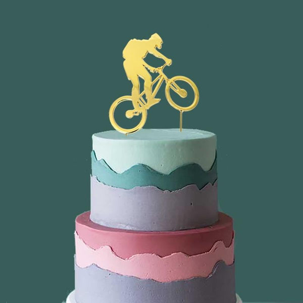 Unknown | Gold Plated Cake Topper - Bike Rider |