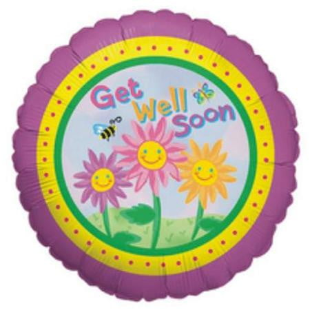 Get Well Soon Happy Flowers Foil Balloon