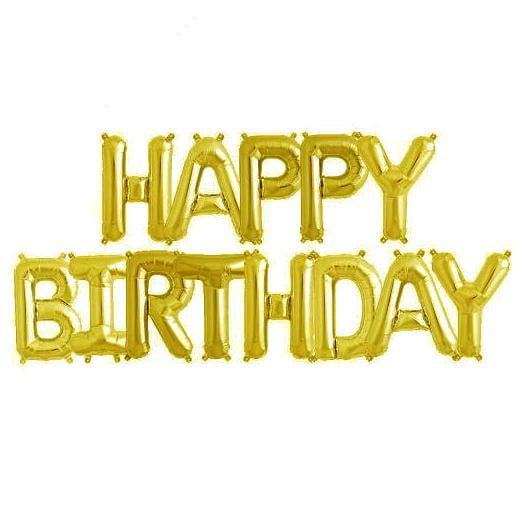 Gold Foil Balloon Bunting - Happy Birthday