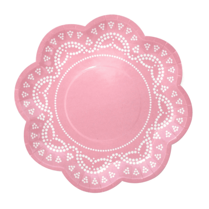 Pastel Pink Doily Plates | Baby Shower Supplies