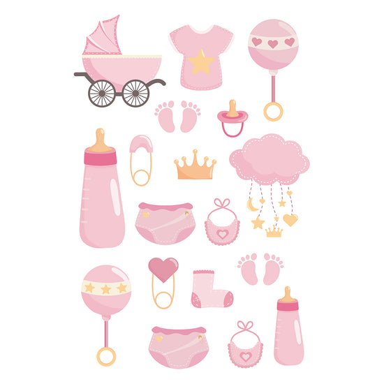 Girl Baby Shower Edible Icons | Baby Shower Cake Decorations