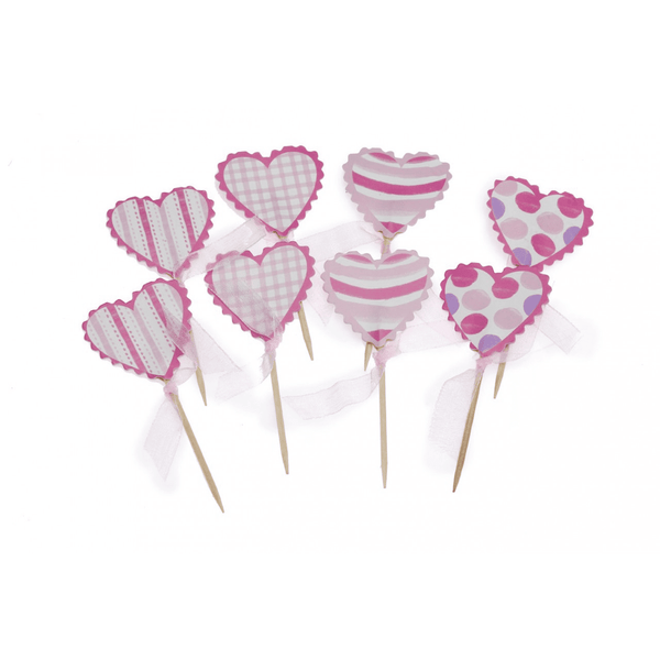 Pink Heart Cupcake Toppers | Princess Party