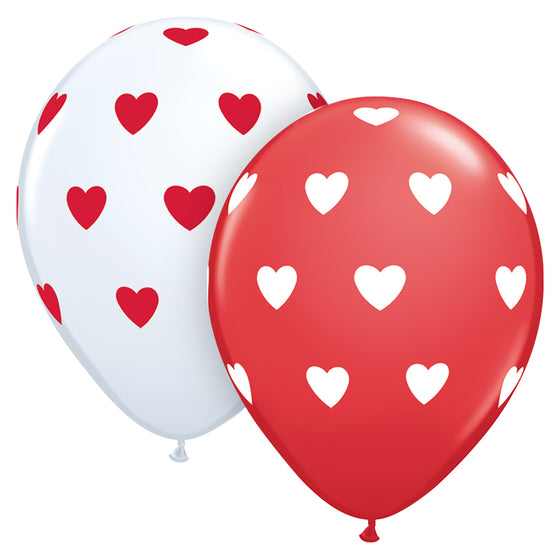 Qualatex | Red & White Hearts Balloons | Valentines Balloons NZ
