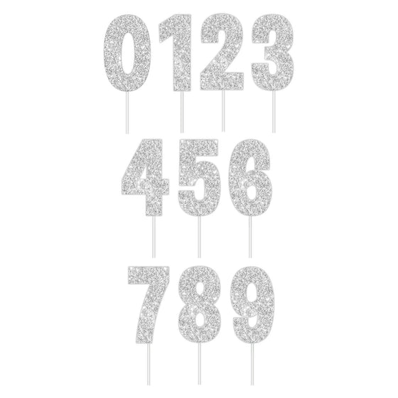 Silver Glitter Number Cake Toppers | Silver Cake Decorations