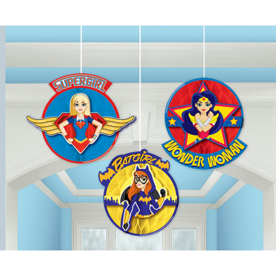 DC Super Hero Girls Honeycomb Decorations | Superhero Girls Party Supplies