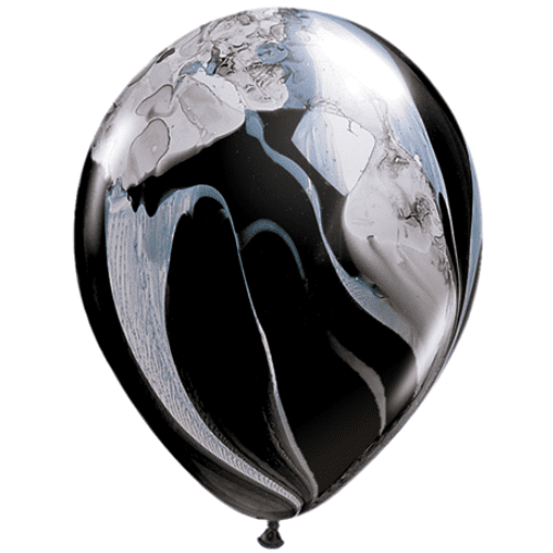 Qualatex | Black & White SuperAgate Balloon | Marble Balloon | Marble Party