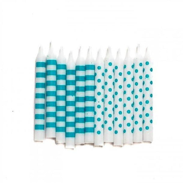 Teal Candles | Teal Stripe Candles | Teal Party