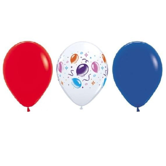 Qualatex | Party Time with Red & Blue Balloons Pack of 12