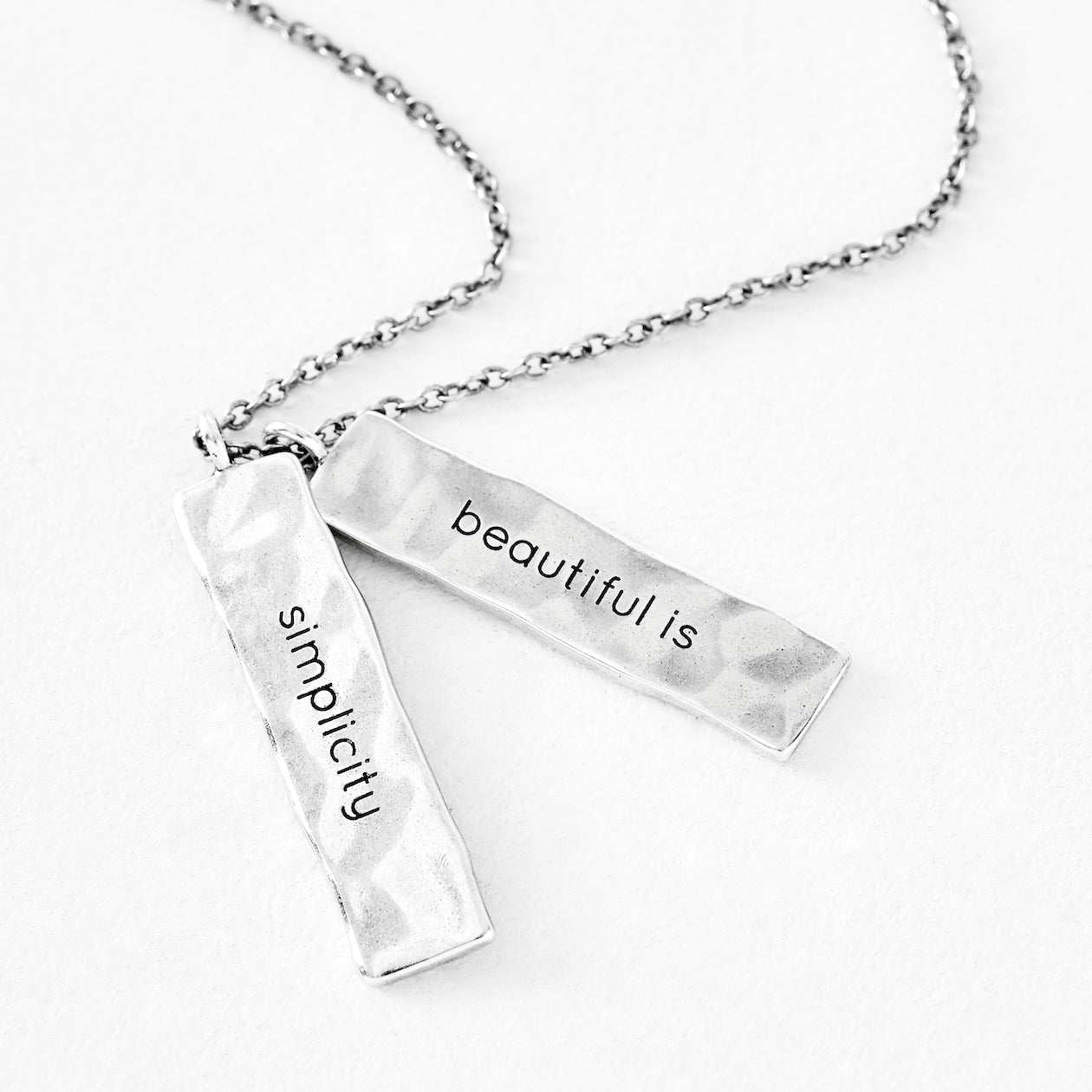 "Luv AJ ""beautiful is"" Silver Bar Pendant"