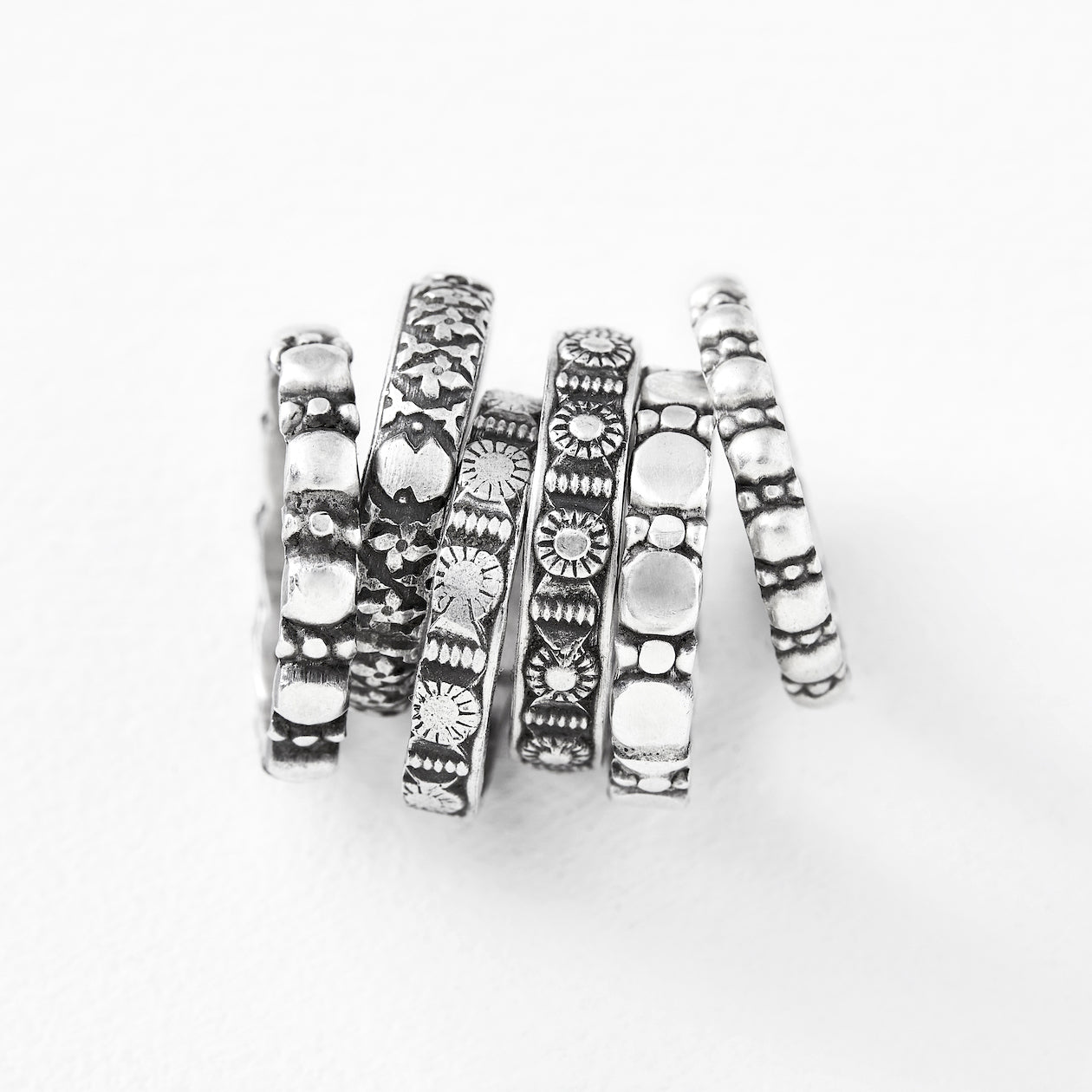 covered stacking ring silver