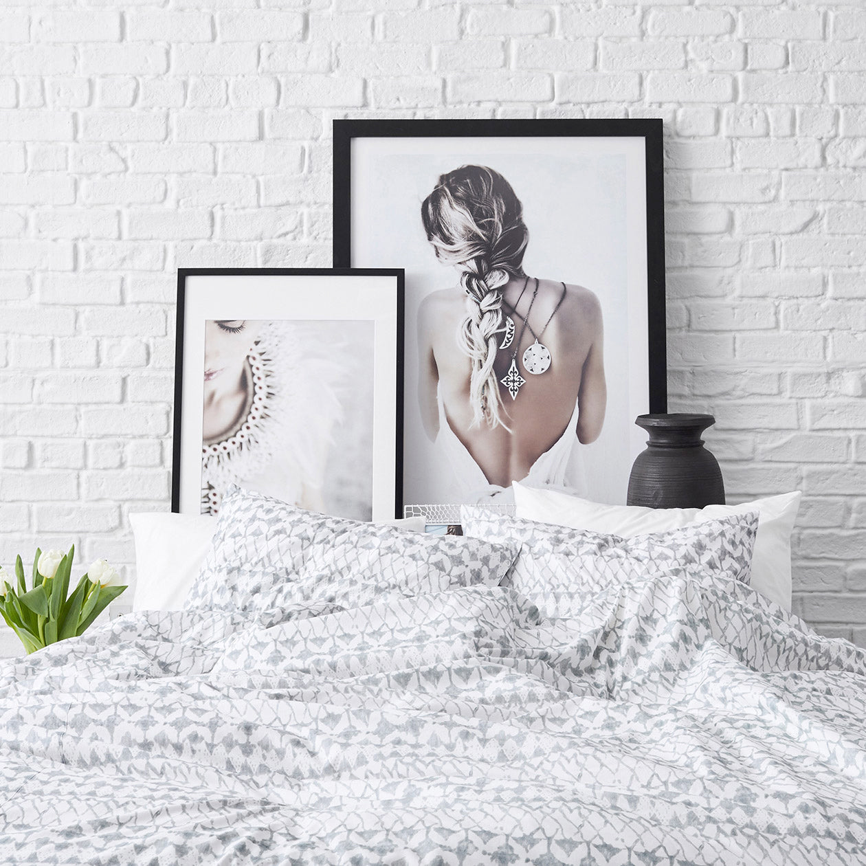 lattice print duvet cement
