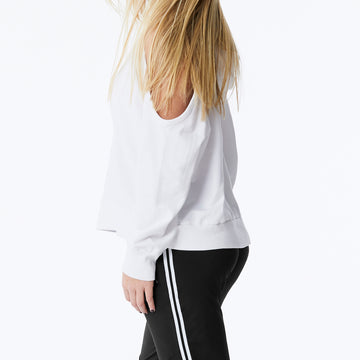 monrow cold shoulder pullover hoodie in white