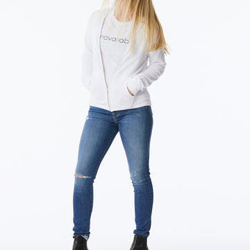 Monrow – Supersoft Zip Up Hoodie in White