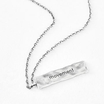 "Luv AJ ""movement"" Silver Bar Pendant"