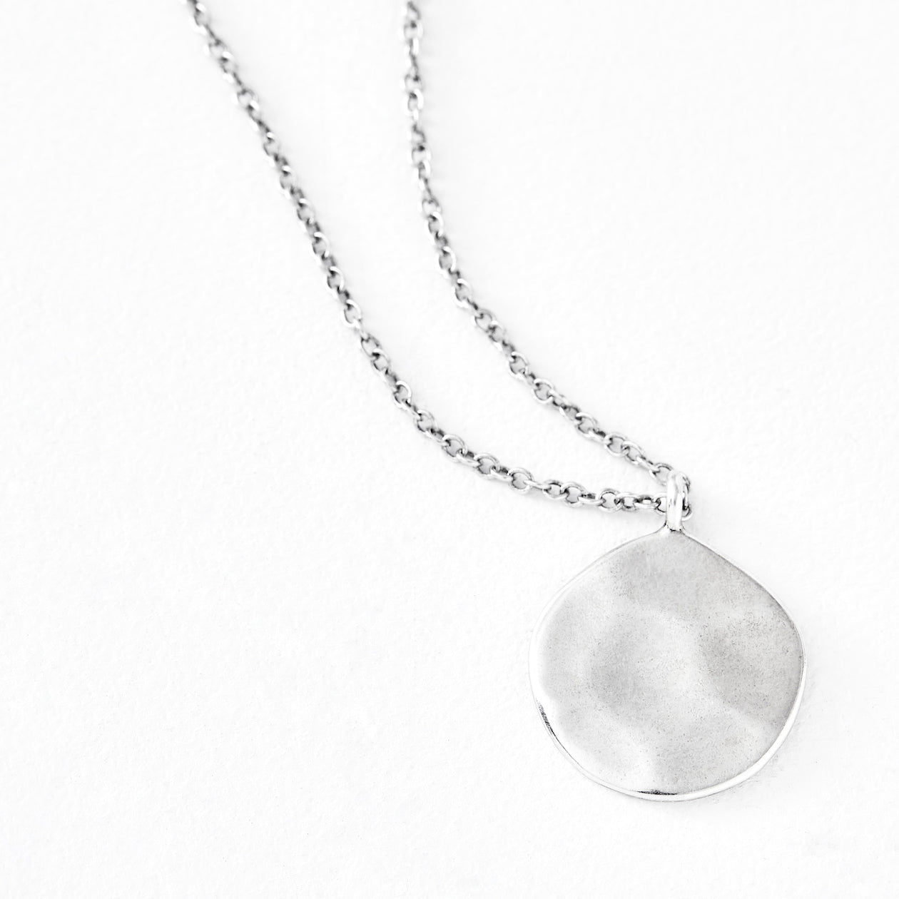 Luv AJ Organic Disc Silver Pendant Necklace