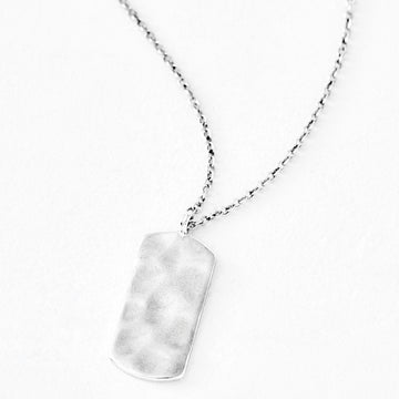 Luv AJ Organic Silver Dog Tag Pendant Necklace