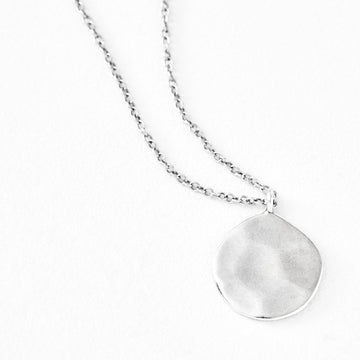 Luv AJ Organic Silver Disc Pendant Necklace