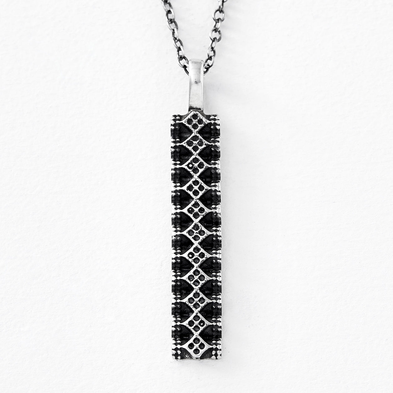 shielded pendant oxidized silver