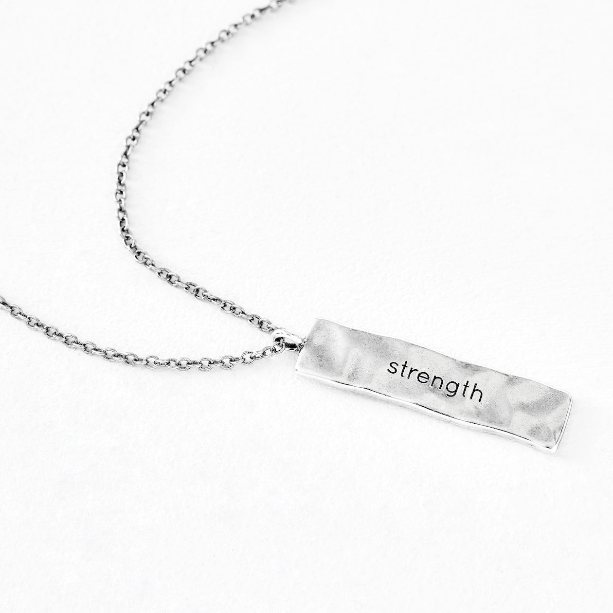 "Luv AJ ""strength"" Silver Necklace Pendant"