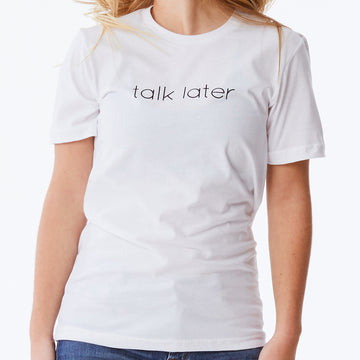 c'est beau1872 – Talk Later Logo Tee in White
