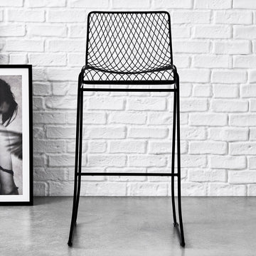 fishnet pattern bar stool black