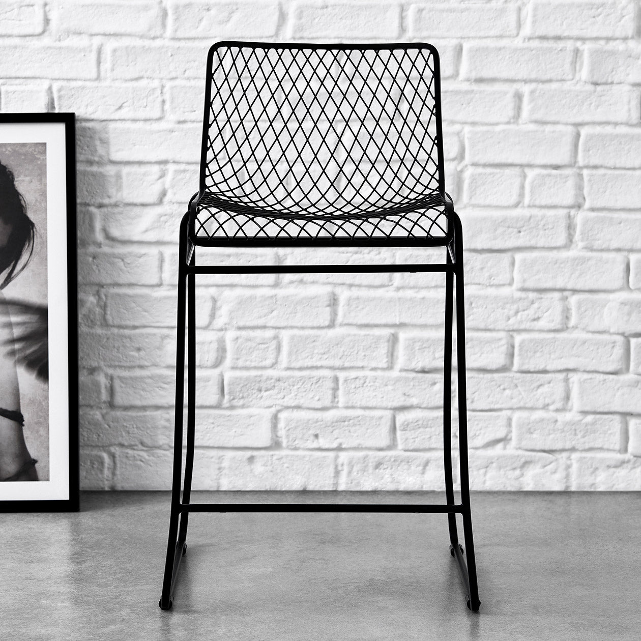 fishnet pattern counter stool black
