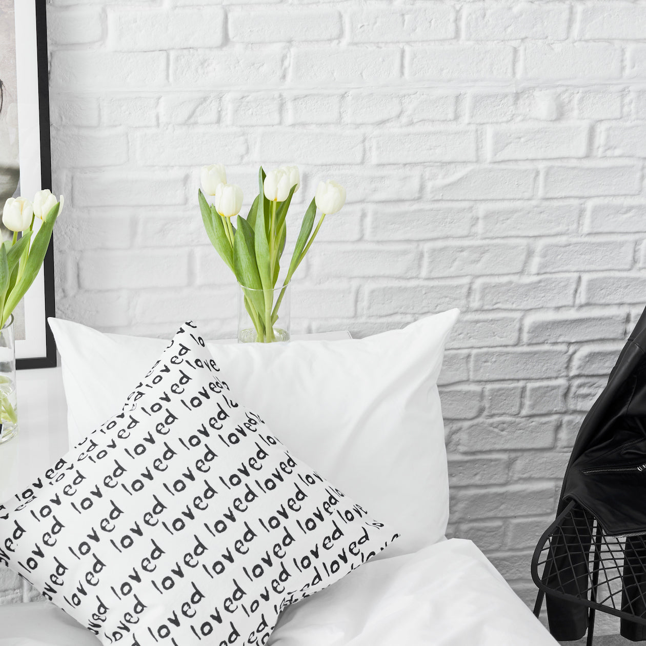 loved print canvas pillow cover black