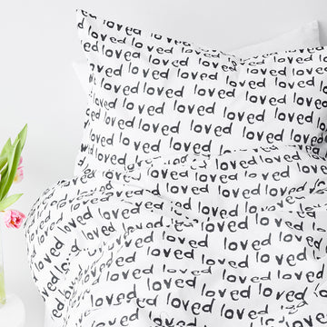 loved print sham black